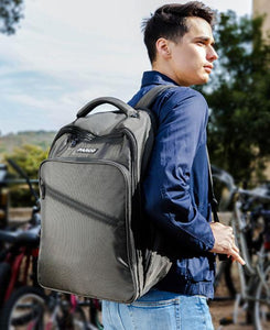 College student carrying the Parco Protective Backpack.