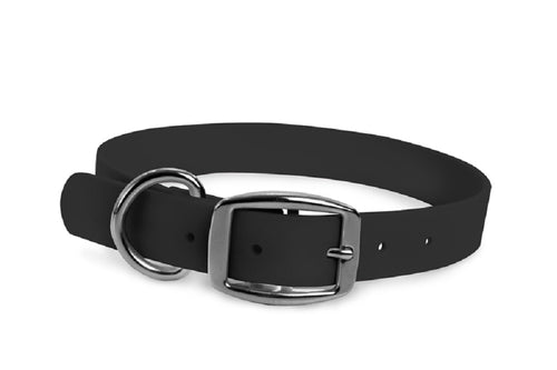 WearHard black waterproof collar. Metal buckle. Adjustable. Waterproof. Odor resistant.