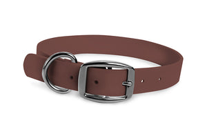 WearHard brown dog collar. Metal buckle. Adjustable. Waterproof. Odor resistant.