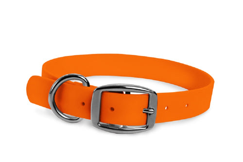 WearHear blaze orange dog collar. Metal buckle. Adjustable. Waterproof. Odor resistant.