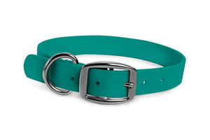 WearHard teal dog collar. Metal buckle. Adjustable. Waterproof. Odor resistant.