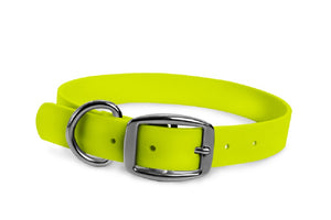 WearHard neon yellow dog collar. Metal buckle. Adjustable. Waterproof. Odor resistant.