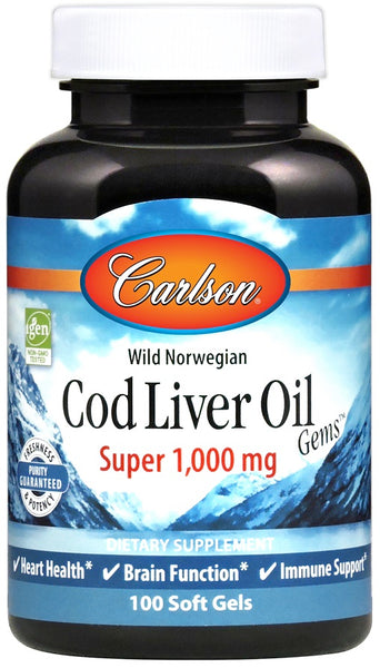 Wild Norwegian Cod Liver Oil Gems, 1000mg - 100 softgels