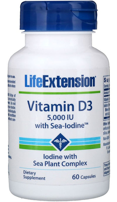 Vitamin D3 with Sea-Iodine, 5000IU - 60 caps