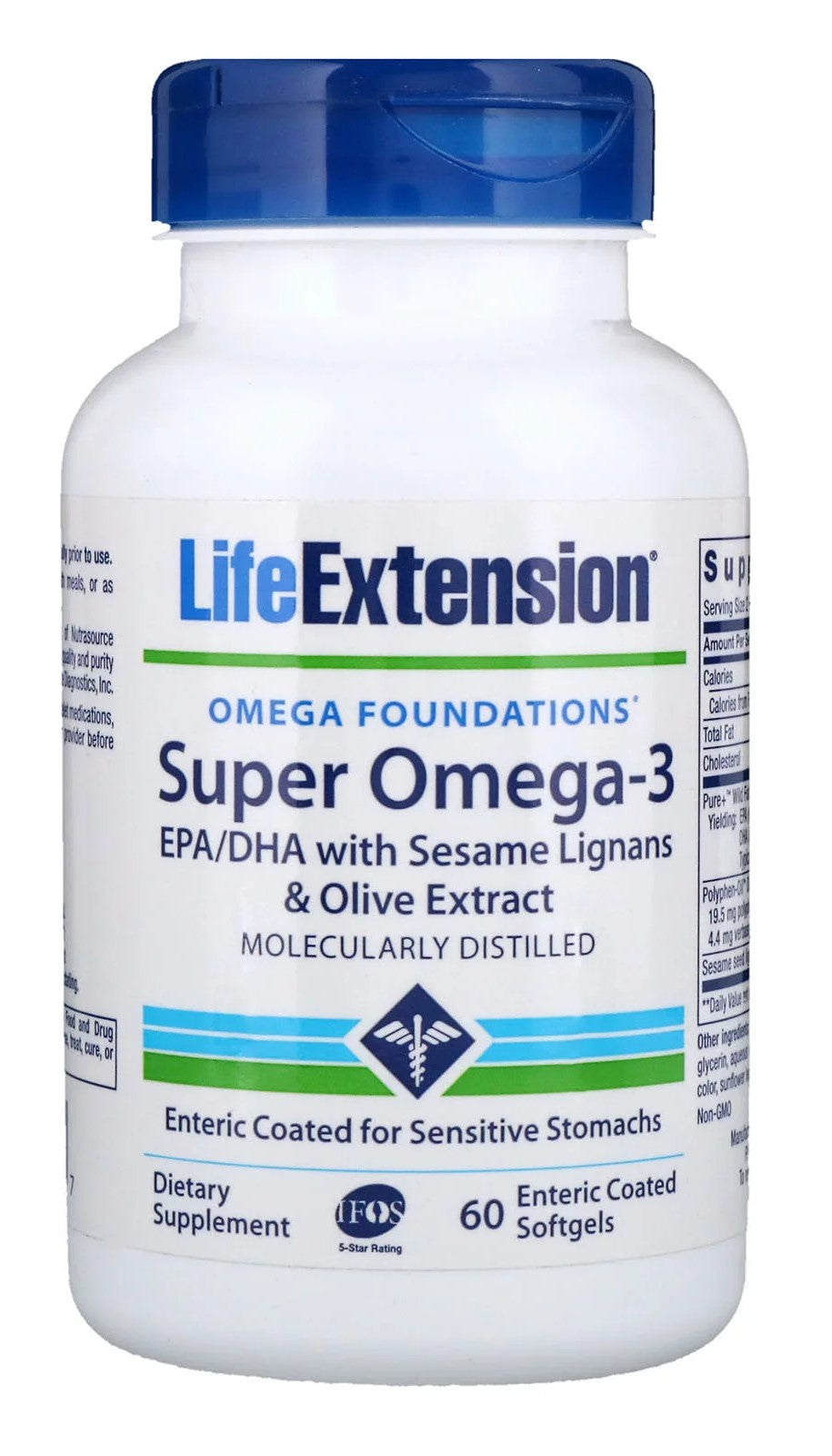 Super Omega-3 EPA/DHA with Sesame Lignans & Olive Extract - 60 enteric coated softgels