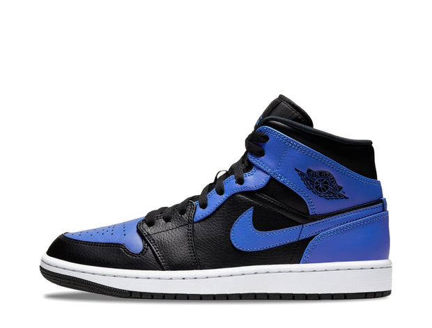 "Air Jordan 1 Mid ""Black Royal Tumbled Leather"" SYRUP"