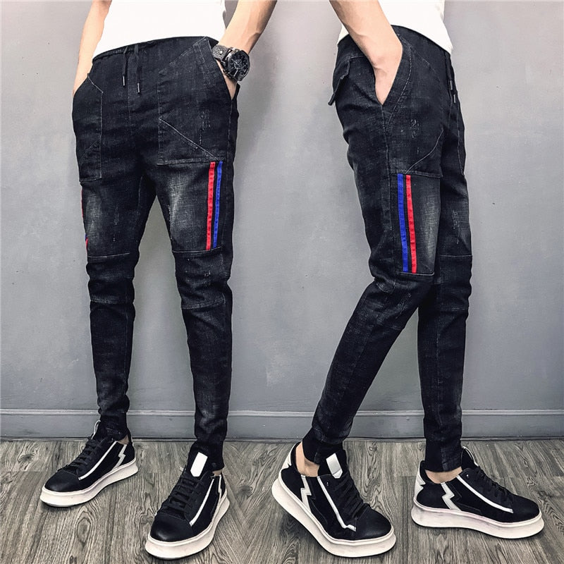 New Men's Elastic Jeans