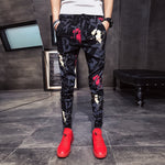 Men Floral Pants Drawstring