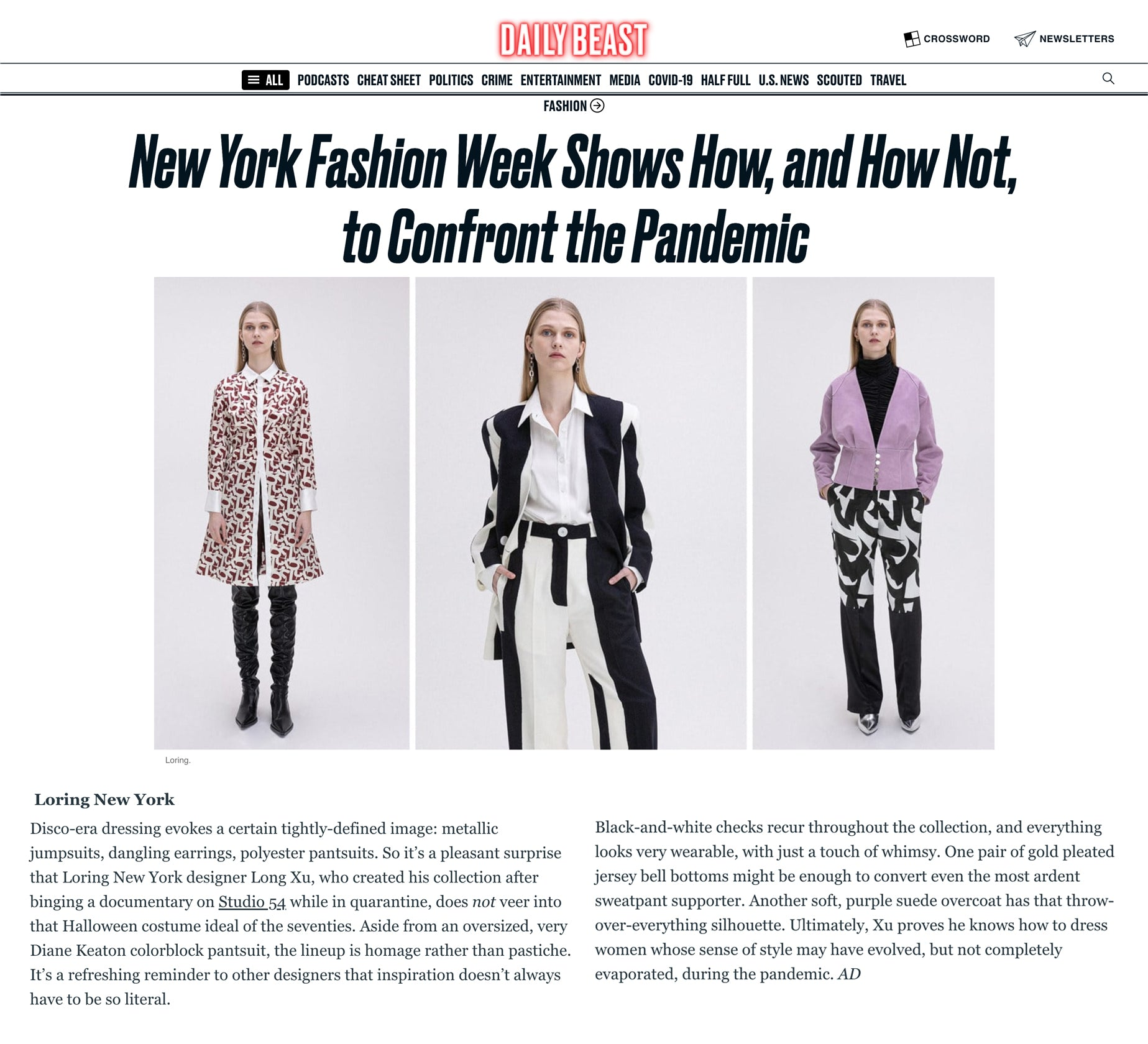 Daily Beast - LORING NEW YORK - New York Fashion Week Shows How, and How Not, to Confront the Pandemic