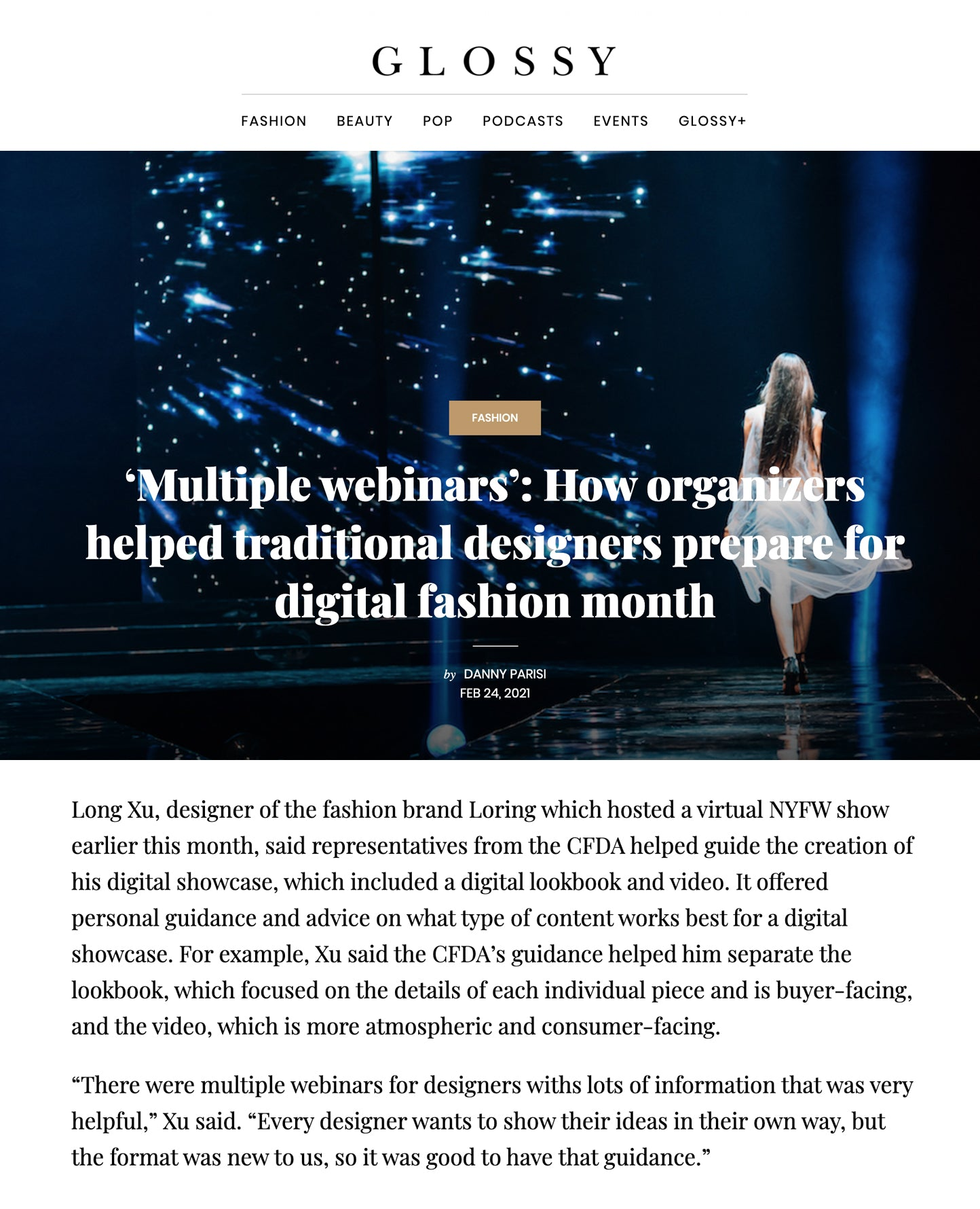 """Glossy Magazine - LORING NEW YORK Interview - """"Multiple webinars"""": How organizers helped traditional designers prepare for digital fashion month"""