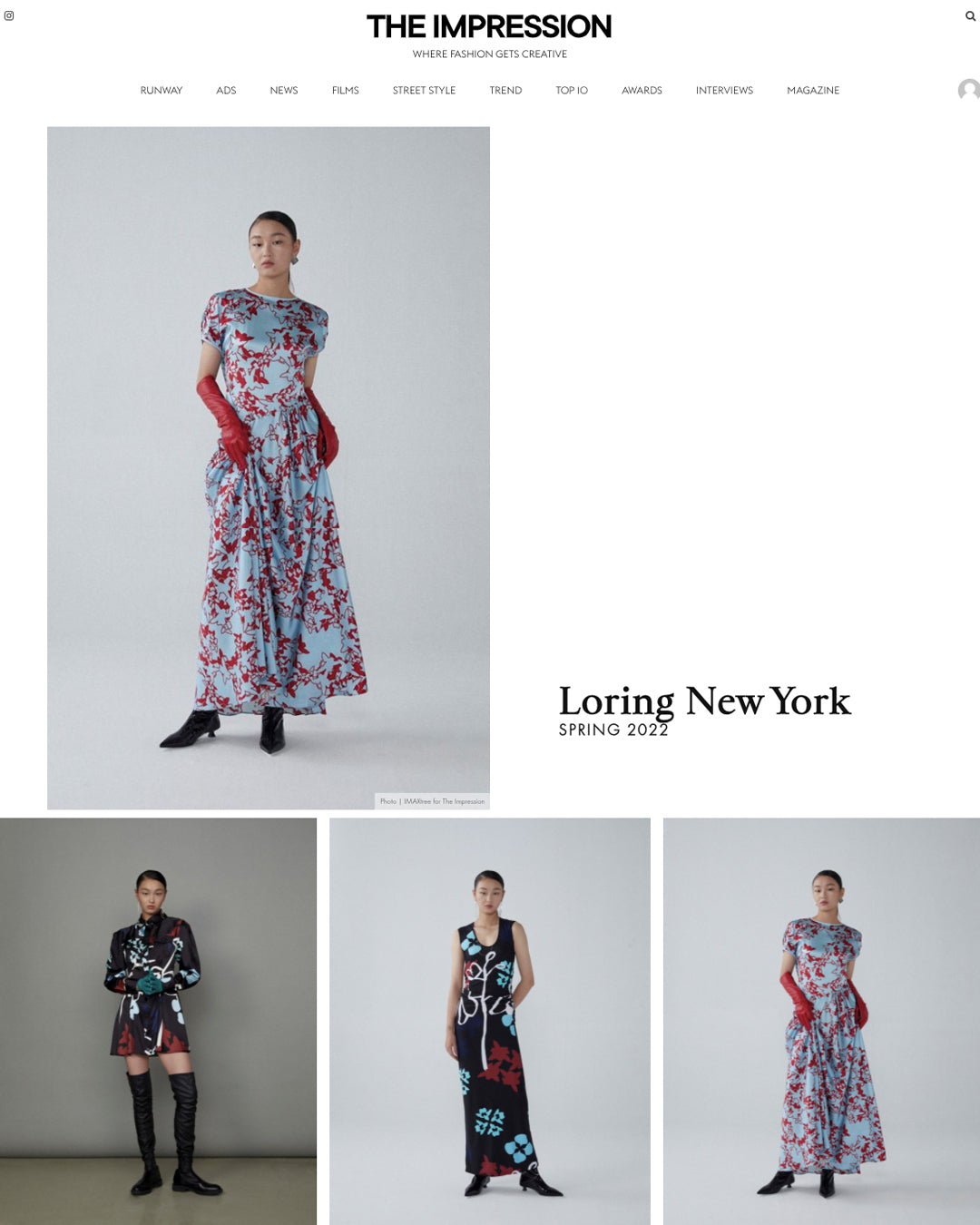 LORING New York Spring Summer 2022 Collection on the Impression