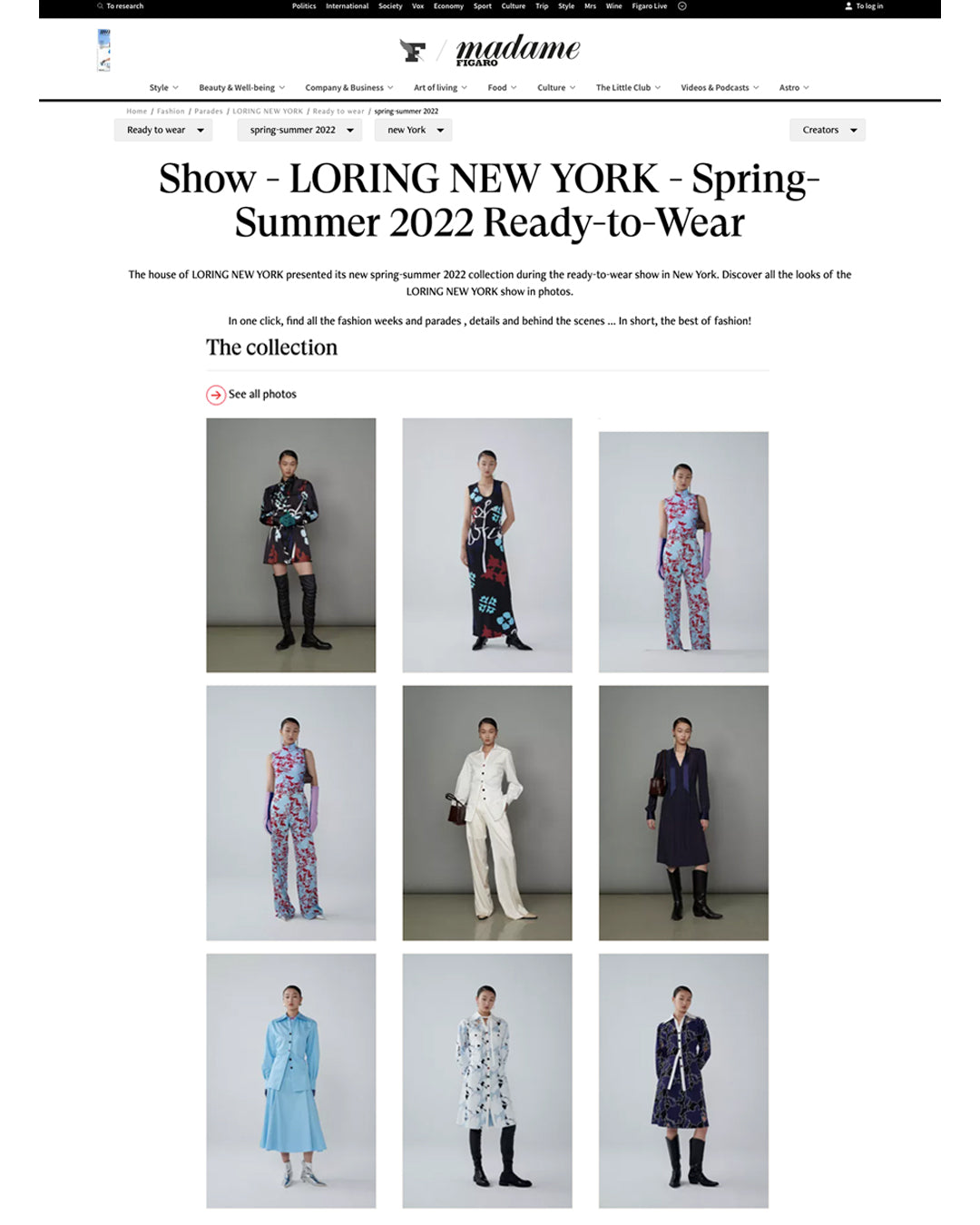 LORING New York SS22 Collection on Madame Figaro