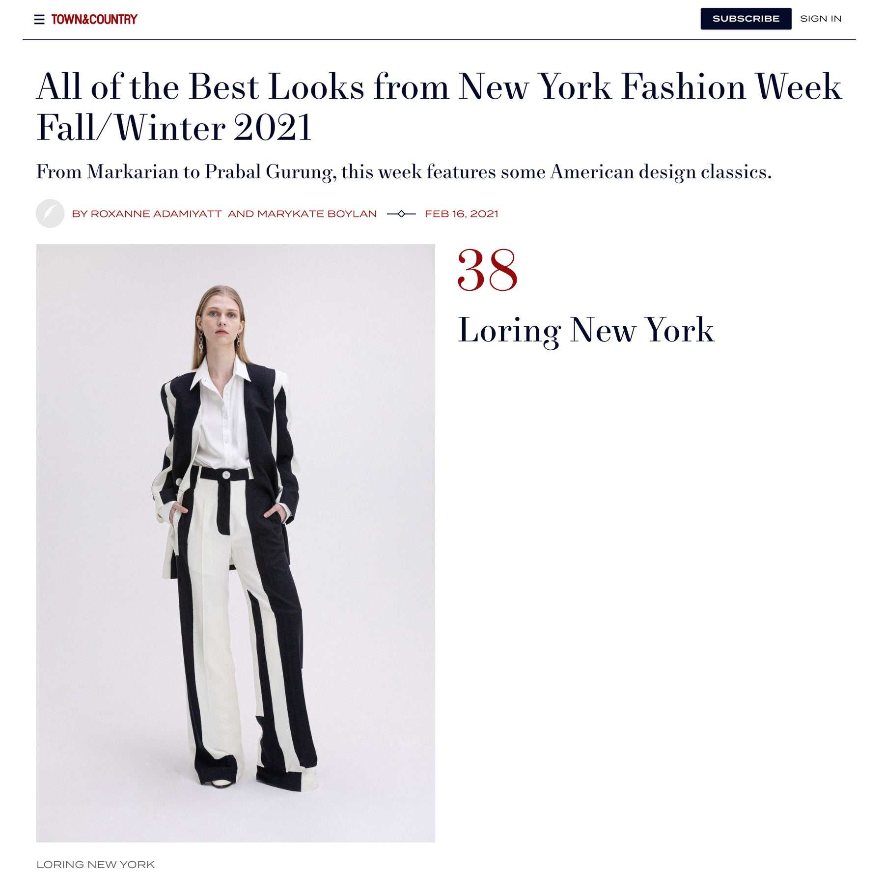 town and country - LORING NEW YORK - All of the Best Looks from New York Fashion Week Fall/Winter 2021