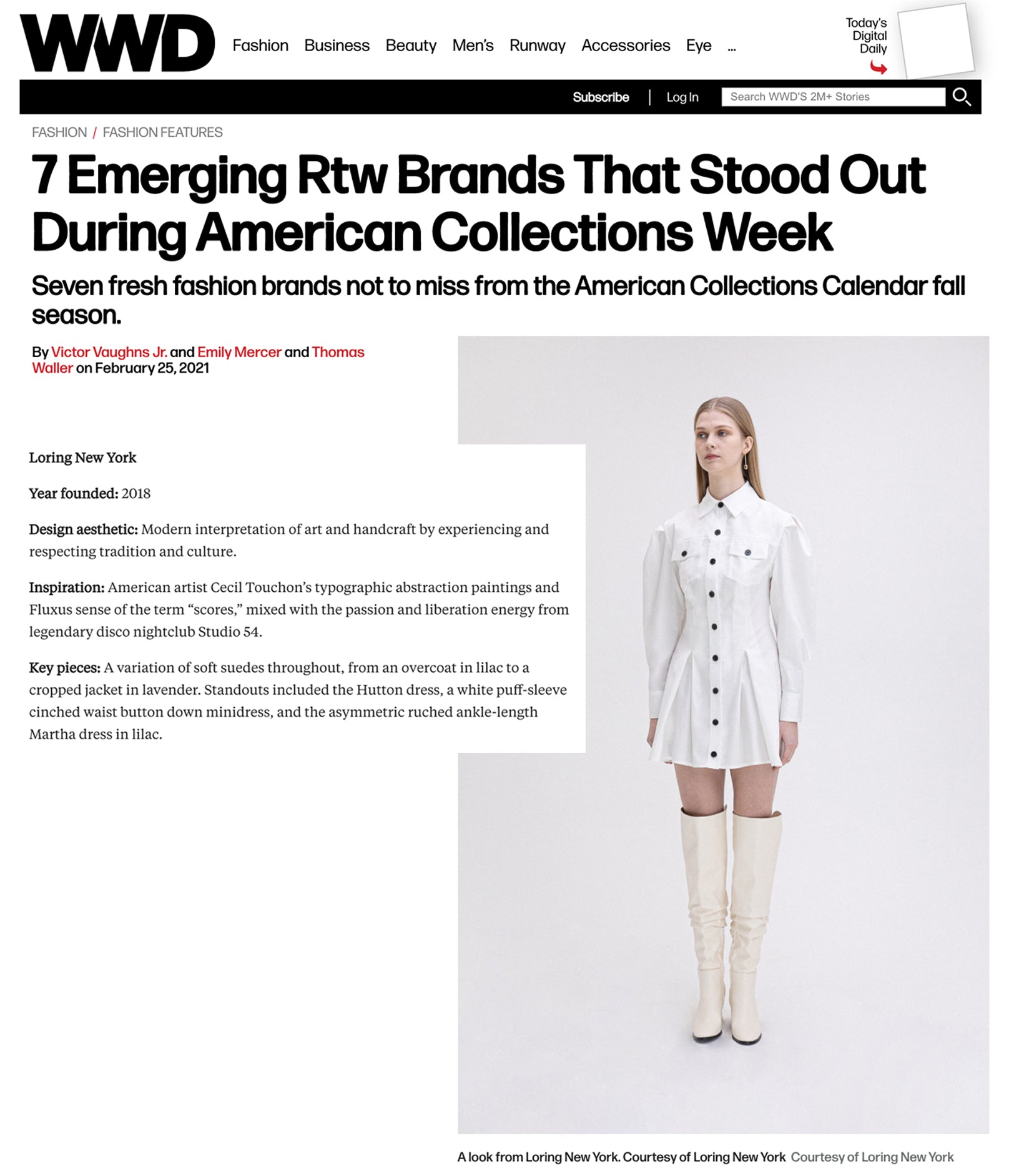 WWD - LORING NEW YORK - 7 Emerging Rtw Brands That Stood Out During American Collections Week