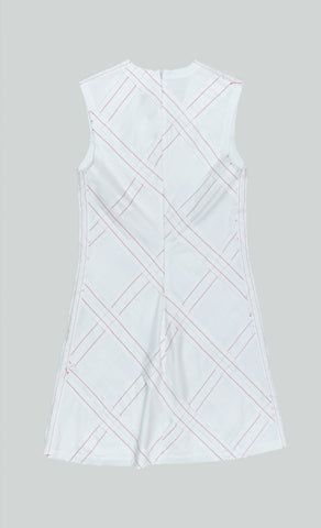 WHITE COTTON SATEEN CHECKED PATCHWORK SHORT DRESS