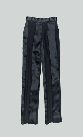 SILK SLASHED SUIT PANTS