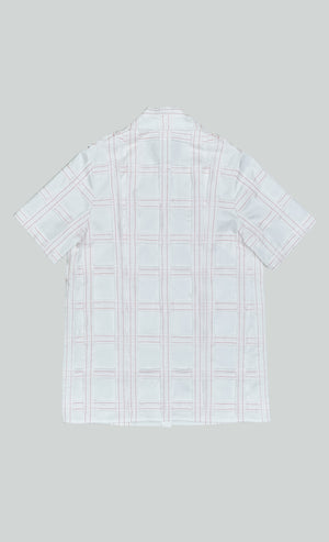 COTTON SATEEN CHECKED PATCHWORK SHORT SHLEEVE SHIRT