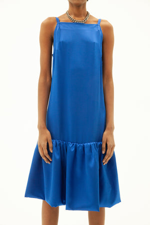 ROYAL BLUE SILK CHARMEUSE RUFFLE STRAP MIDI DRESS