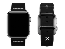 Load image into Gallery viewer, black custom apple watch band with a stitched X