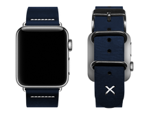 Load image into Gallery viewer, blue custom apple watch band with a stitched X
