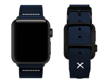 Load image into Gallery viewer, blue custom apple watch strap with a stitched x