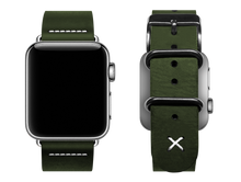 Load image into Gallery viewer, green custom apple watch band with a stitched X