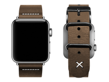 Load image into Gallery viewer, light brown custom apple watch band with a stitched X