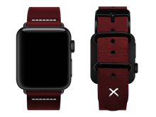 Load image into Gallery viewer, red custom apple watch strap with a stitched x