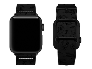 black floral custom apple watch strap