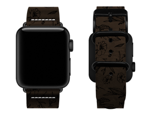 brown floral custom apple watch strap