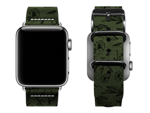 green floral custom apple watch band