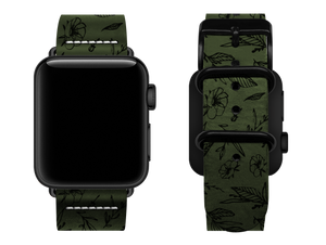 green floral custom apple watch strap