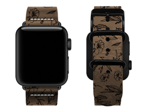 light brown floral custom apple watch strap