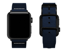 Load image into Gallery viewer, blue striped custom apple watch strap