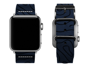 blue woodgrain custom apple watch band