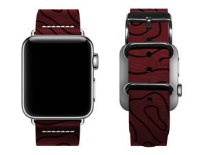 red woodgrain custom apple watch band