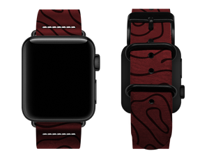 red woodgrain custom apple watch strap