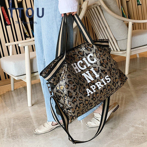 Large Travel Sequin Tote