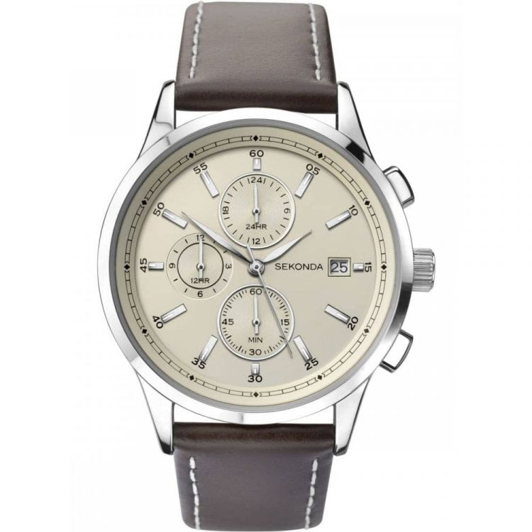 Sekonda Gents Dual Time Brown Leather Strap Watch - 1394-Watch-Celtic Beard