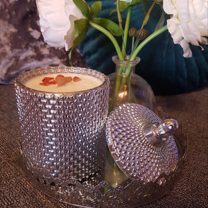"""Wood & Stone"" Egyptian Linen & Mimosa Blossom with Howlite Healing stone-Candle-Celtic Beard"