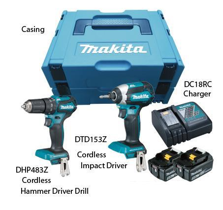 MAKITA 18V CORDLESS COMBO KIT | Model : DLX 2198 J(DHP 483 + DTD 153) - Aikchinhin