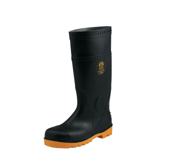 KING'S Black PVC Boots with Steel Toe Cap and Steel Mid-sole | Model : KV20X, Sizes : #5(39) - #11(45)