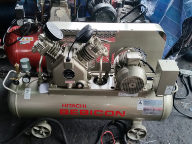 HITACHI 3HP 90L 230V AIR COMPRESSOR horizontal tank with pressure switch, MODEL:2.2P-9.5VS5A