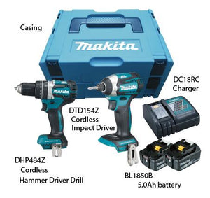 MAKITA 18V COMBO SET (DLX 2181 TJ), Includes DHP 484 Z + DTD 154 Z, WITH 2X 5.0AH BATTERY & CHARGER DLX 2181 TJ - Aikchinhin