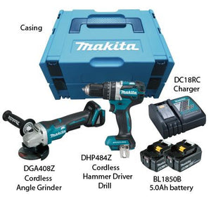 MAKITA 18V DC COMBO KIT | Model : DLX 2215 TJ, Includes (DHP 484+DGA 408) - Aikchinhin