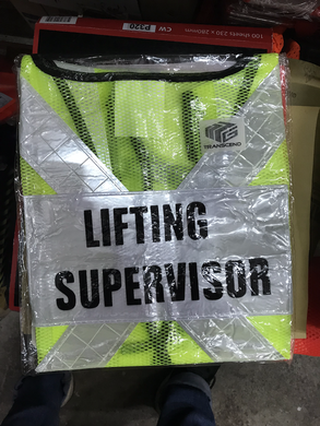 Green Safety Vest with words at back | Wording : Banksman, Fire Watchman, Lifting Supervisor, Rigger/Signal man, Security, Signal man, Traffic Controller