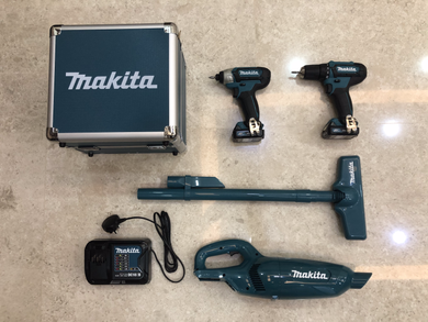 Makita 12V Combo Kit (Driver Drill + Impact Driver & Free Vacuum Cleaner) | Model : CLX224SAX1