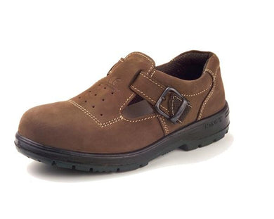 KING'S Dark Brown Nubuck Leather Buckle-on Safety Shoe | Model : KP 909 KW, Sizes : #6 (40) - #10 (44)