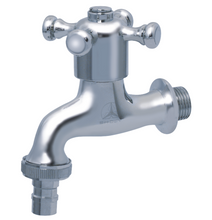"Load image into Gallery viewer, Showy C.P. Hose Union BIB (Toilet) Cross Handle Tap | Nozzle Size : 1/2"" or 3/4"""