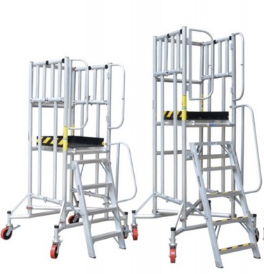 XG Moveable and Foldable Aluminium Scaffolding with wheels and guardrails | Model : XG177A | Height : 4ft, 5ft, 6ft - Aikchinhin